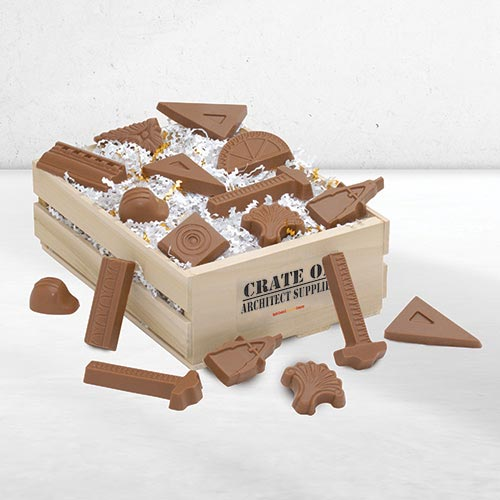 architect, engineering & design gifts: apple cookie & chocolate