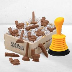 Plumbing gift basket of Chocolate plumbing tools and plunger