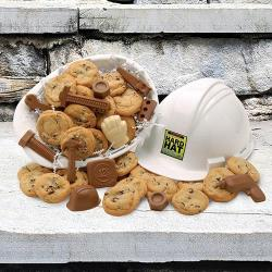 Hard hat filled with Cookies and Chocolate tools