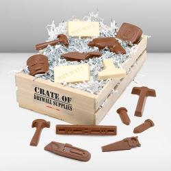 Wooden Basket of Chocolate Drywall Tools