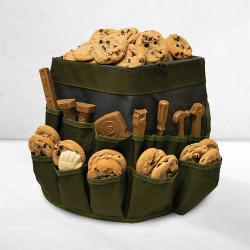 Bucket bag gift basket of cookies and chocolate tools