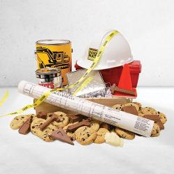 Industry Related Wooden Gift Basket of cookies and custom chocolate