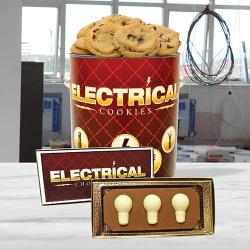 Electrical Cookie tin and Chocolate light bulb Combo