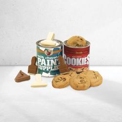 Painters gift tin of cookies and chocolate paint supplies