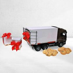 Plastic CONTAINER Truck FILLED With Cookies