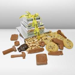 Construction gift box tower of cookies and chocolate tools