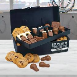 Electricians tool box filled cookies and electrical chocolate