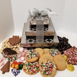 holiday gift tower of cookies and Holiday chocolates