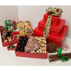 Gift box tower of cookies nuts and Holiday chocolate