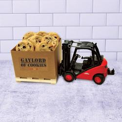 Forklift and Gaylord with Cookies