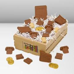 Financial Planning Wooden Basket of financial chocolates