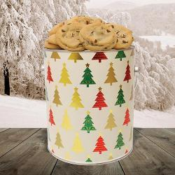 Festive holiday tree cookie gift tin