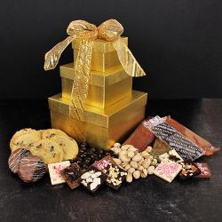 Gold Gourmet Gift Tower of Cookies & Chocolates