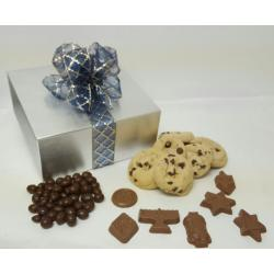 Hanukkah gift box of cookies and Hanukkah chocolate