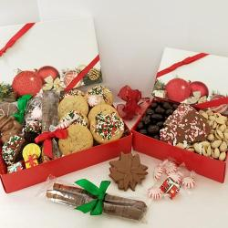 Gourmet holiday gift box tower of cookies and Holiday chocolate