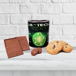 Hi tech cookie and tech chocolate gift tin