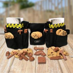 Triple Pouch Tool Belt Gift Basket Filled With Cookies and Chocolate Tools