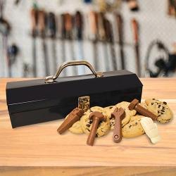 Metal toolbox filled with Cookies and Chocolate tools