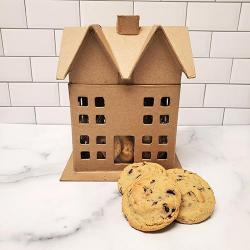 Paper mache House cookie gift basket
