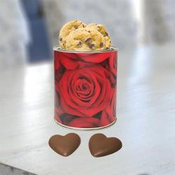 Rose Cookie and Chocolate Heart Tin