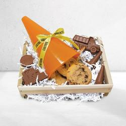 Safety cone gift basket of cookies and safety chocolate