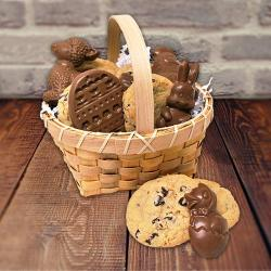 Easter basket of cookies and Easter chocolate