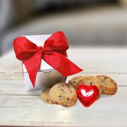 Silver Valentine's Day Gift Box of Cookies and Chocolate heart