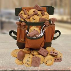 Toolbelt Filled with Cookies and Construction Chocolates