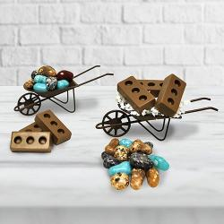 Mini Wheel Barrow rock Candy & Chocolate bricks