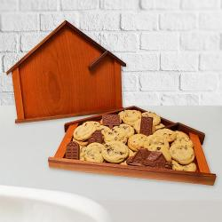Wooden House Serving Tray of cookies and real estate chocolate